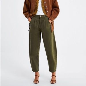 Zara green casual boyfriend pants